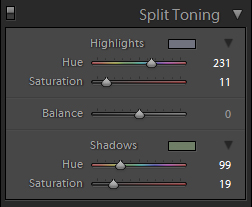 Split Toning menu