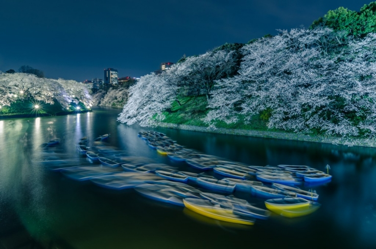 Boats at Chidorigafuchi at night