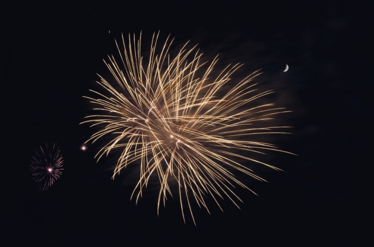 Fireworks Bursting With moon