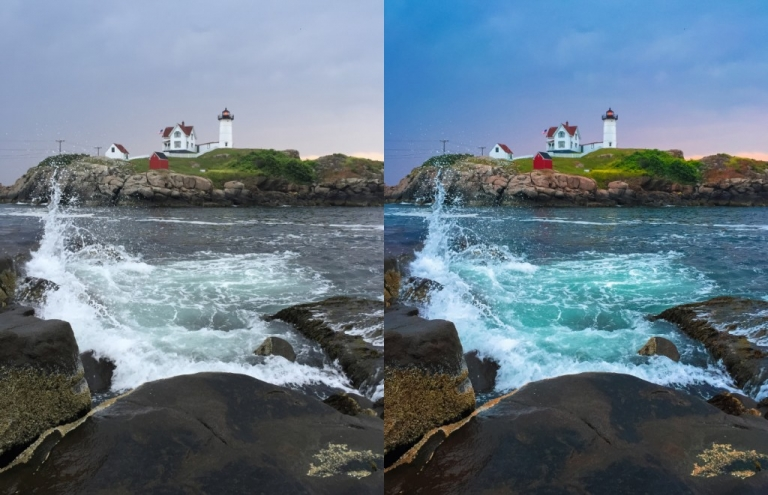 Nubble Lighthouse Before and After