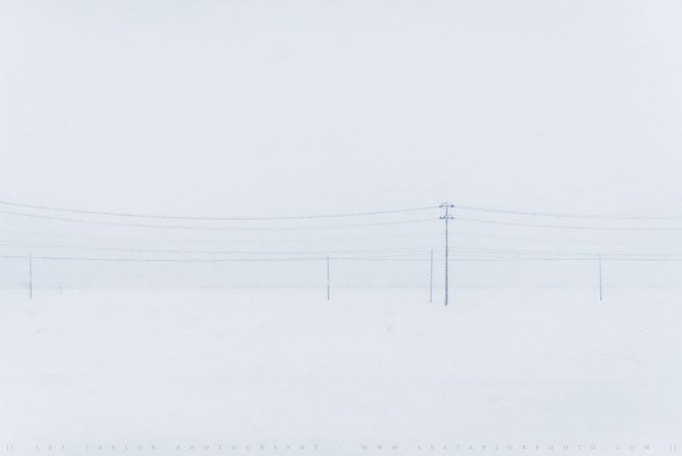 Power Lines And Snow Akita Japan